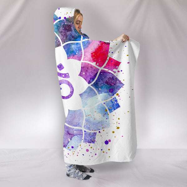 Watercolour Om Hooded Blanket