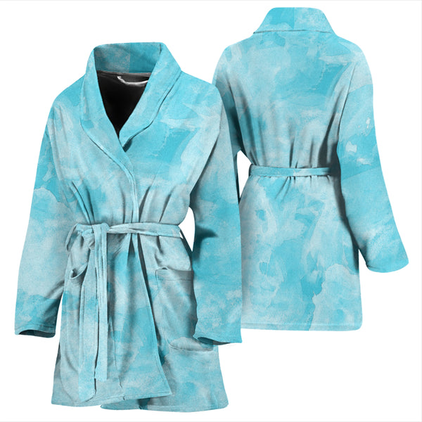 Bathrobe Blue Watercolor Women's Bath Robe
