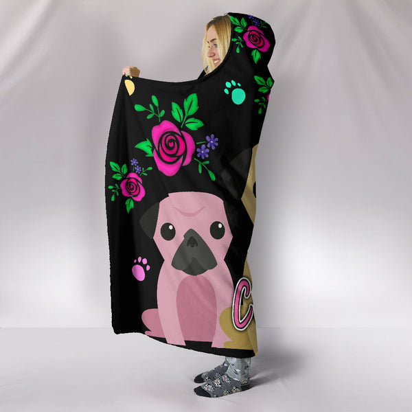 Charming Pugs Hooded Blanket with Cute Pug Dogs