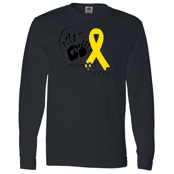 Hand Heart & Ribbon Childhood Cancer Adult Long Sleeve Tee