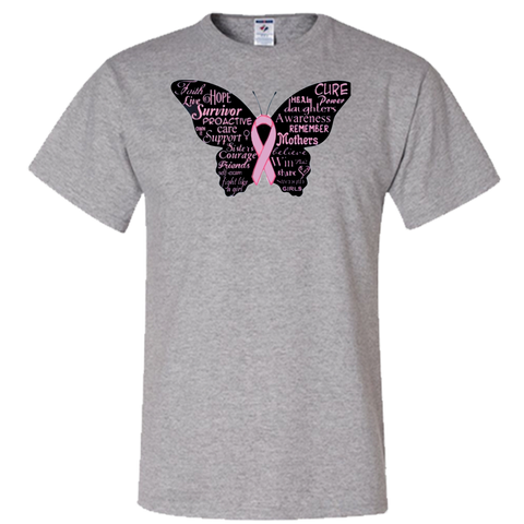 Breast Cancer Ribbon Butterfly Adult Unisex T-Shirt