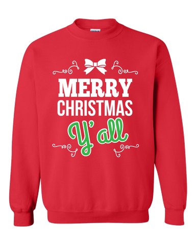 Merry Christmas Red Adult Crewneck Sweat Shirt