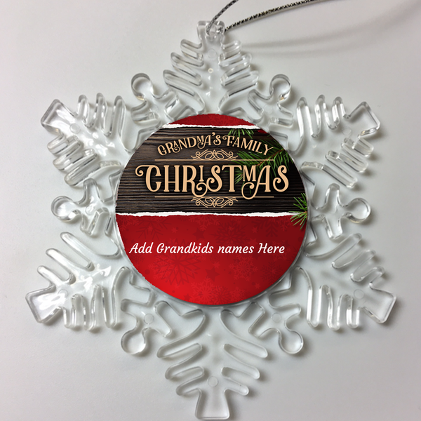GRANDMAS FAMILY Personalized Christmas Ornament
