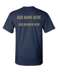 NAVY BLUE AND GOLD Team Color Adult Unisex T-Shirt With PERSONALIZATION