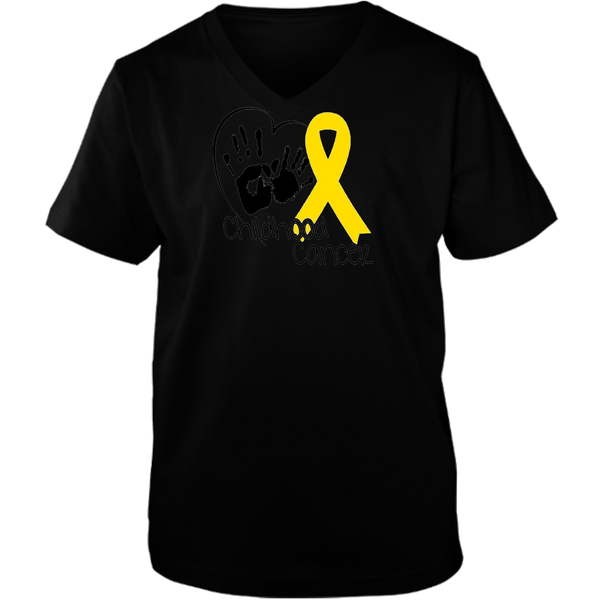 Hand Heart & Ribbon for Childhood Cancer Adult Unisex V neck Tee