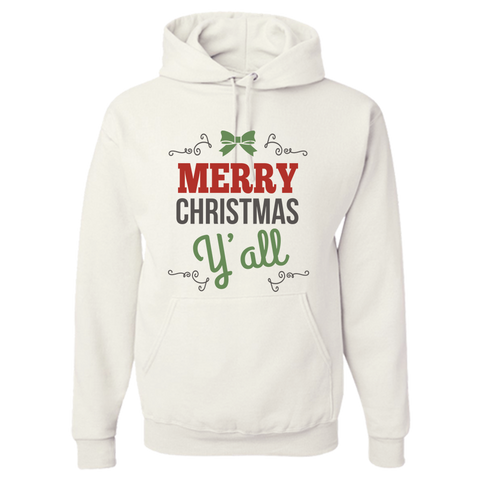 Merry Christmas Y'All White Adult Hoodie