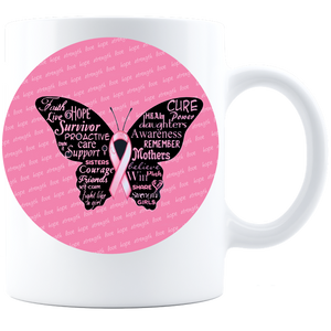 Breast Cancer Ribbon Butterfly word art Coffee Mug - White