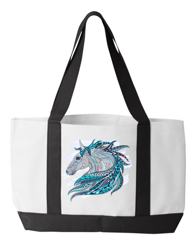 Colorful Horse Design Tote Bag