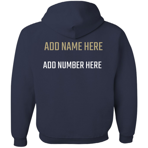NAVY BLUE and GOLD TEAM COLORS Adult Hoodie With PERSONALIZATION