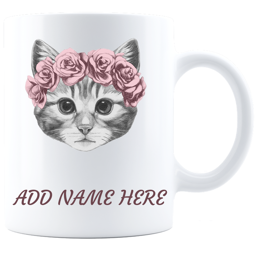 Cat with Crown Coffee Mug -personalized  White