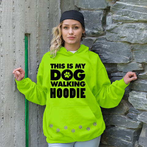 MY DOG WALKING Safety Green Hoodie