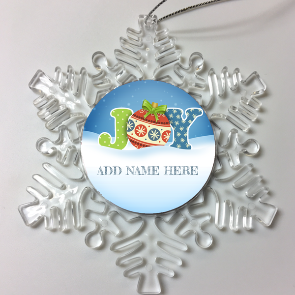 JOY Personalized Christmas Ornament