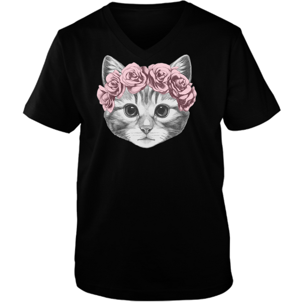 Beautiful Cat With Crown Adult Unisex V neck Tee