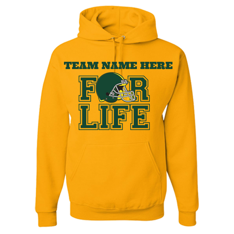 Your TEAM FOR LIFE GREEN & YELLOW PRIDE COLORS personalized Hoodie