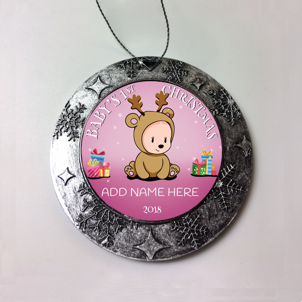 BABY GIRLS FIRST CHRISTMAS Personalized Christmas Ornament