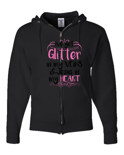 Glitter in My Veins and Jesus in My Heart Adult Zipper Hoodie