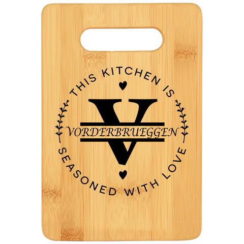 Seasoned with Love Personalized Cutting Board - Bamboo Laser Engraved
