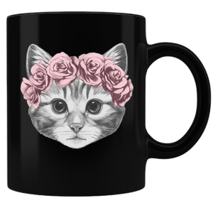 Cat with Crown Coffee Mug - Black