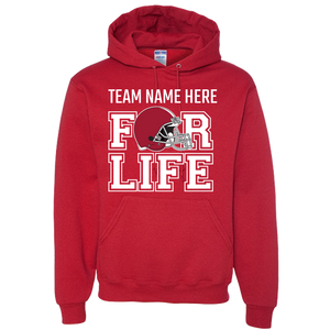 TEAM FOR LIFE : CRIMSON AND WHITE team colors Adult Hoodie
