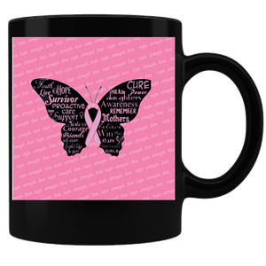 Breast Cancer Butterfly Ribbon Coffee Mug - Black