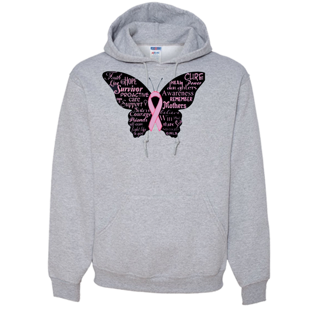 Breast Cancer Butterfly Ribbon Adult Hoodie