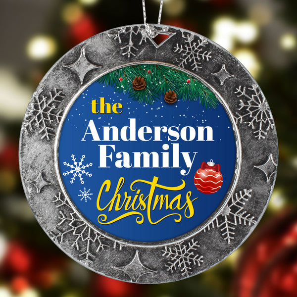 FAMILY NAME Personalized Christmas Ornament