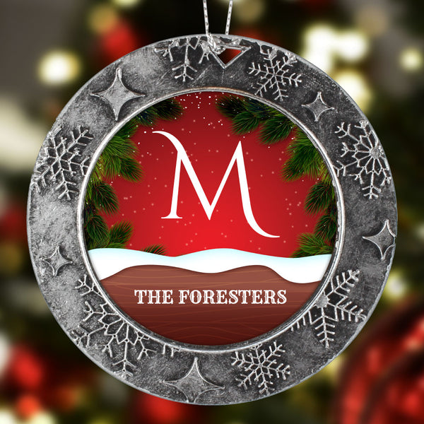Family Monogram Personalized Christmas Ornament