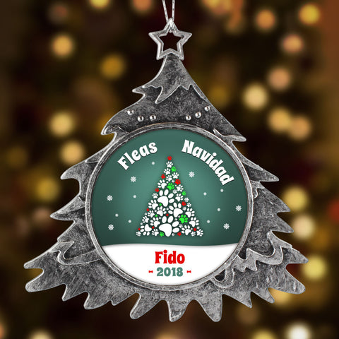 FLEA NAVIDAD !  Personalized  PET Christmas Ornament