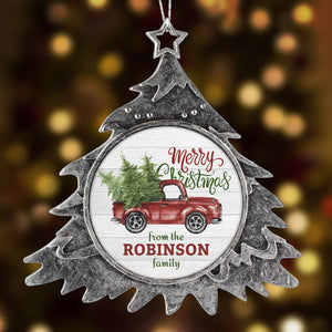 Nostalgic Personalized Christmas Ornament Old Truck with Tree