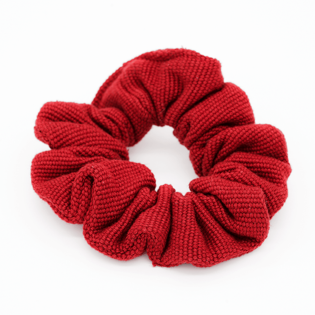 Cherry Red Woven Scrunchie