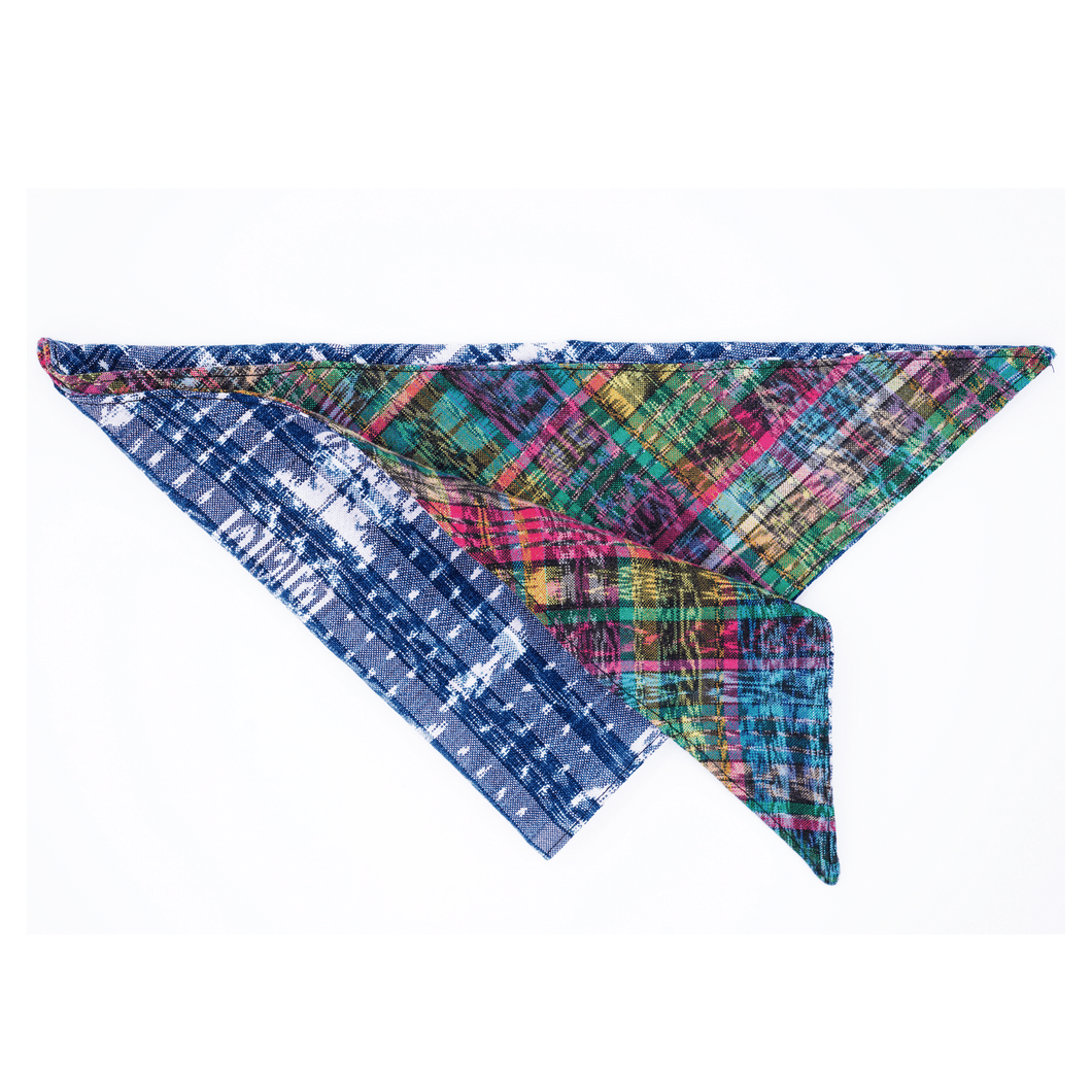 Zero Waste Textile Bandana in Blue and Green