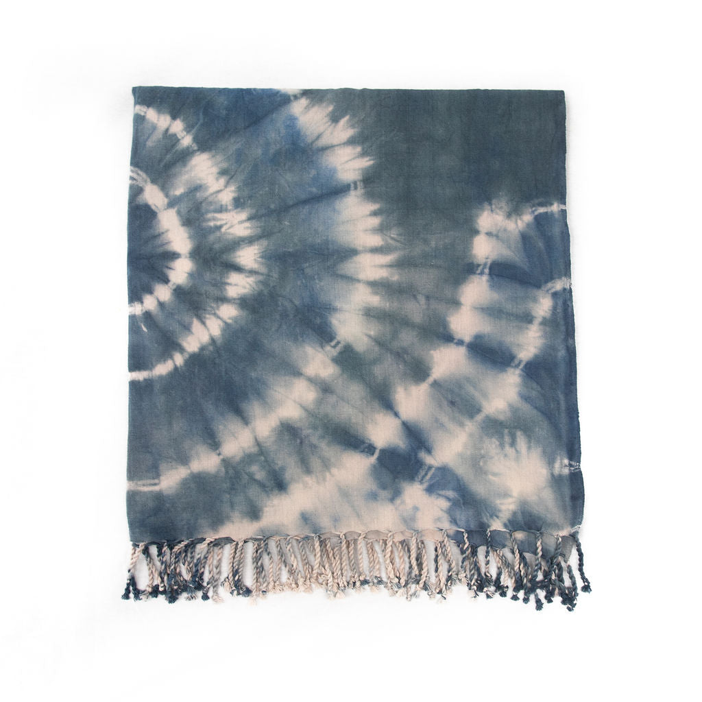Indigo Waves Woven Throw