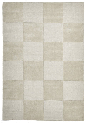 Timeless Boxed Pattern Wool Rug Oatmeal - 165x115cm