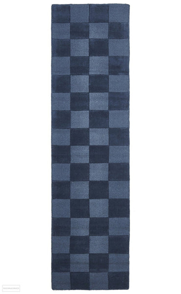 Timeless Boxed Pattern Wool Runner Rug Petrol