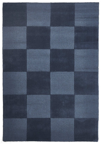 Timeless Boxed Pattern Wool Rug Petrol - 165x115cm