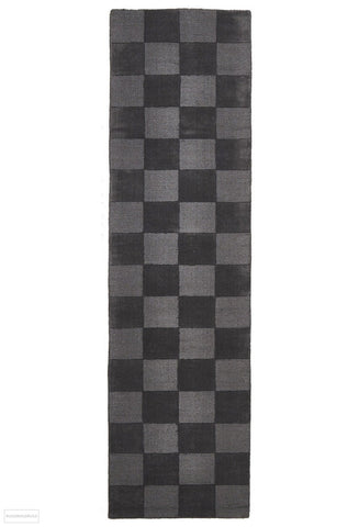 Timeless Boxed Pattern Wool Runner Rug Pewter