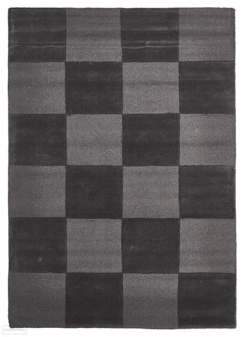 Timeless Boxed Pattern Wool Rug Pewter - 165x115cm