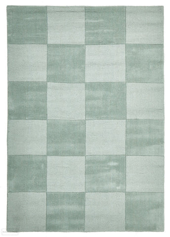 Timeless Boxed Pattern Wool Rug Seafoam - 165x115cm