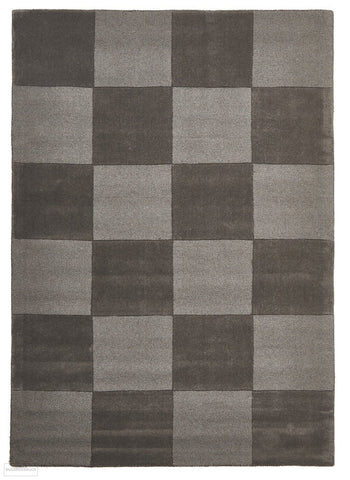 Timeless Boxed Pattern Wool Rug Smoke - 165x115cm