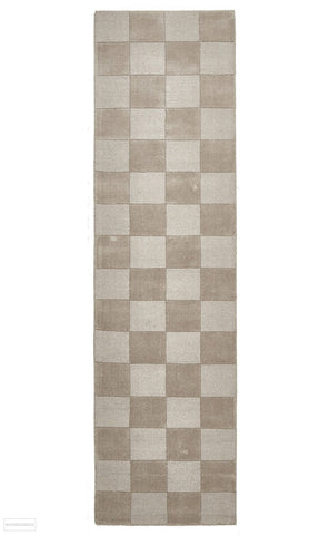 Timeless Boxed Pattern Wool Runner Rug Taupe