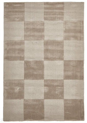 Timeless Boxed Pattern Wool Rug Taupe - 165x115cm