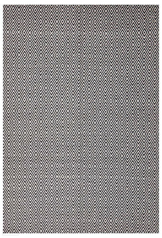 Habitat Diamond Pattern Rug - Black - FLATWEAVE