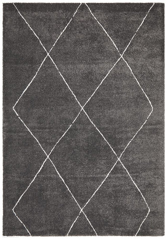 Broadway Jasmine Diamond Charcoal Rug - MODERN