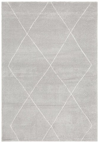 Broadway Jasmine Diamond Silver Rug - MODERN