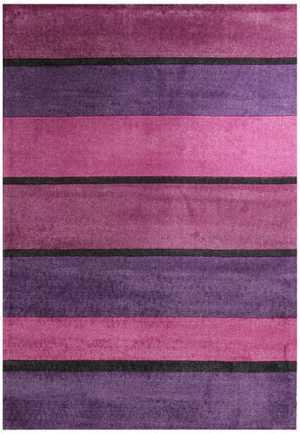 City Modern Purple Pink Black Bands Rug