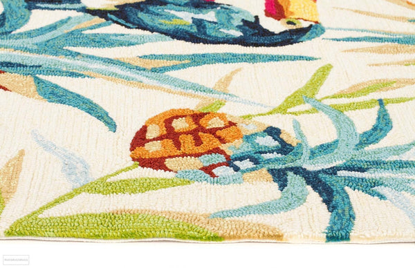 Copacabana Toucan Tropical Indoor Outdoor Rug Cream