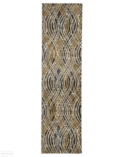 Dreamscape Flurry Modern Charcoal Runner Rug - 300x80cm