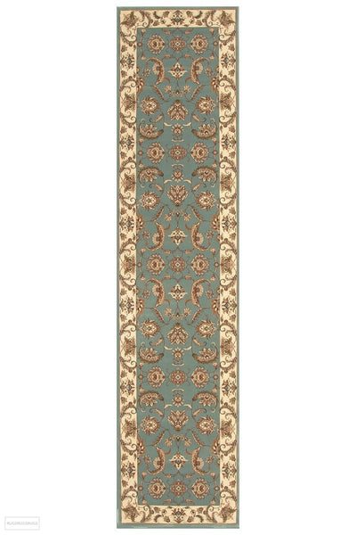 Empire Collection Stunning Formal Floral Design Blue Rug - 300x80cm