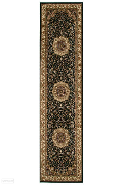 Empire Collection Stunning Formal Medallion Design Black Rug - 300x80cm