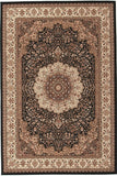 Empire Collection Stunning Formal Medallion Design Black Rug - 170x120cm